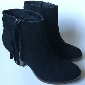 Black Suede MIA Finnegan Heeled Booties Size 8